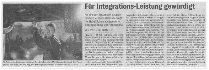 Südkurier berichtet über Auszeichnung für Hebelschule !!!