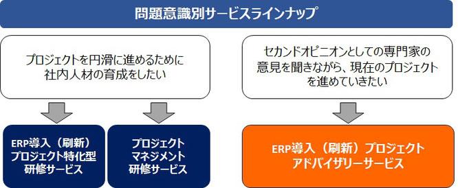 ERP導入(刷新)プロジェクト・ソリューションのサービス概要および、問題意識別サービスラインナップのイメージ画像