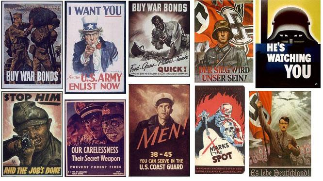 Diversos carteles propagandísticos durante la guerra.