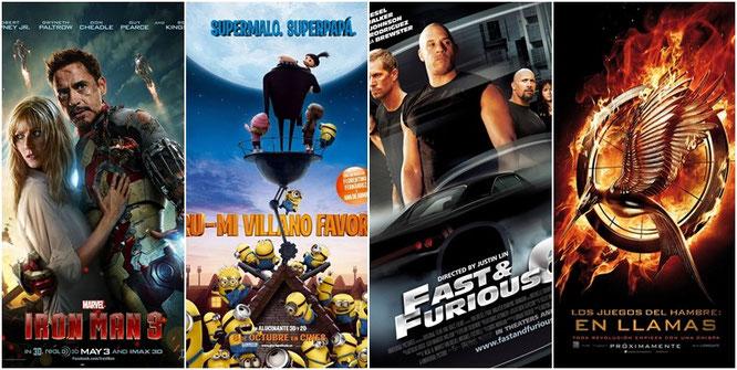 """""""Iron Man 3"""", """"Gru, mi villano favorito"""", """"Fast & Furious 6"""" y """"Los juegos del hambre: En llamas"""""""
