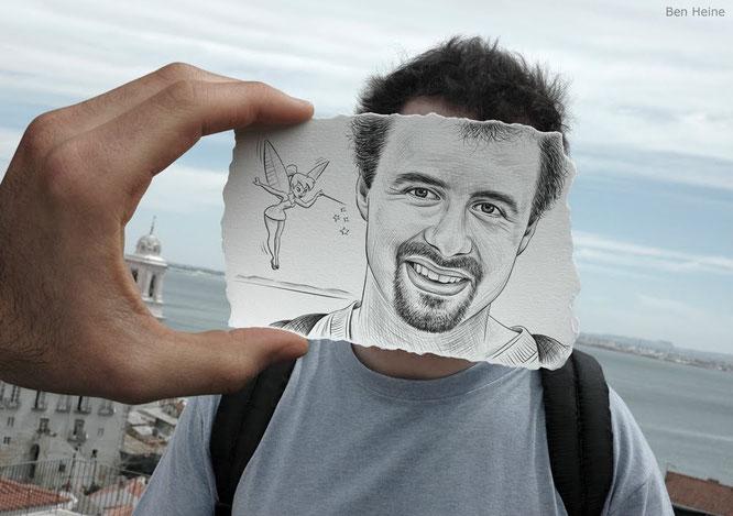 Ben Heine y su trabajo 'Pencil vs. Camera'.