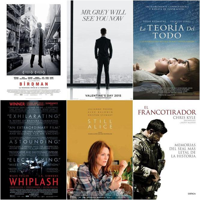 'Birdman', 'Cincuenta sombras de Grey', 'La teoría del todo',  'Whiplash', 'Siempre Alice' y 'El francotirador'.