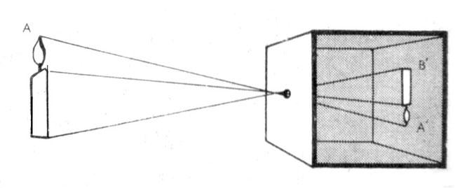 La cámara oscura permite gracias a la filtración de luz plasmar la imagen del exterior (vela) de forma invertida en la pared opuesta al orificio del dispositivo.