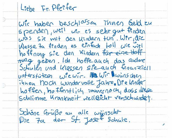 Brief der Klasse 7a der Realschule St. Josef in Bad Honnef an den Förderkreis