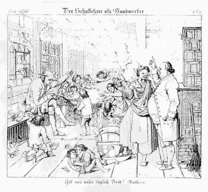 """1825, """"Der Schullehrer als Handwerker"""" (Der Lehrer näht, um dazuzuverdienen, bzw. er ist Schneider und unterrichtet nebenher)"""