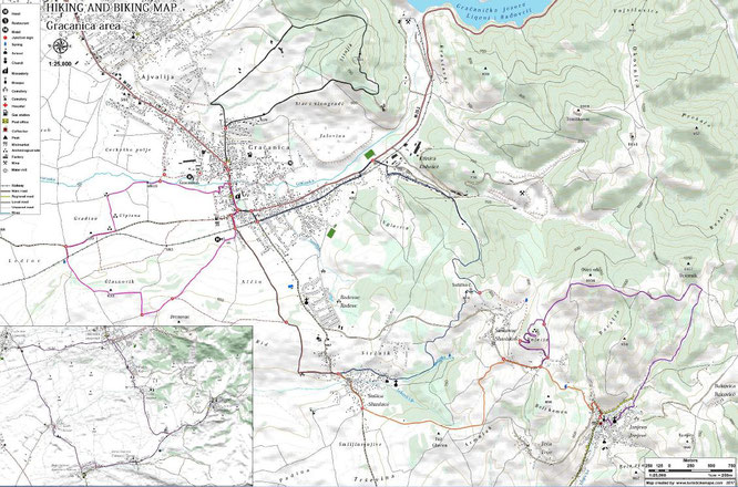 Gracanica Area Hiking and Biking Map
