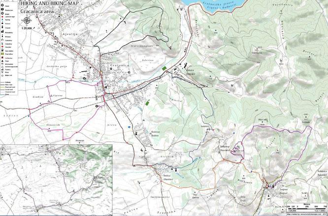 Gracanica Area Hiking and Biking Map