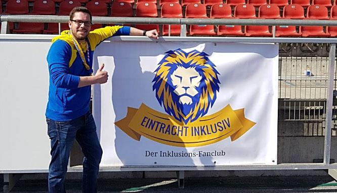 Christoph mit dem ersten Banner im Stadion vor dem Heimspiel gegen Dynamo Dresden 08.04.2018
