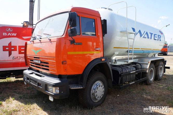 Цистерна для питьевой воды модели 69367A на шасси КАМАЗ-651153. Площадка техники Русбизнесавто (Алмаз). 11/06/2013