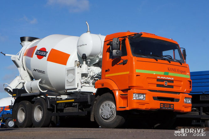 Автобетоносмеситель модели 69361H на шасси КАМАЗ-65115. Площадка техники Русбизнесавто (Альфа). 26/09/2012