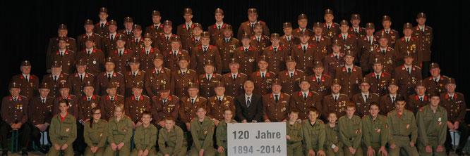 Mannschaftsfoto anläßlich 120 Jahre FF Großraming am 3.Mai 2014