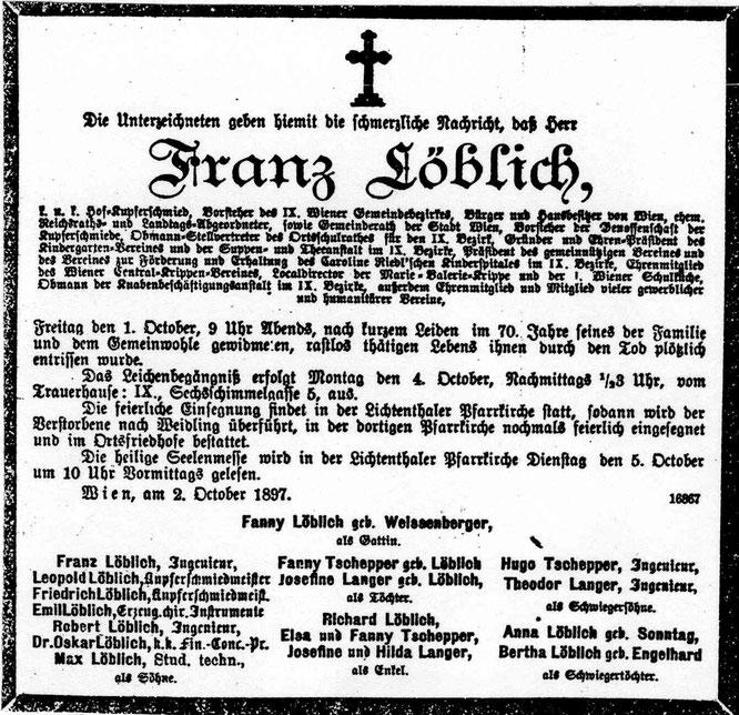 Todesanzeige Franz Löblichs v. 1.Okt 1897