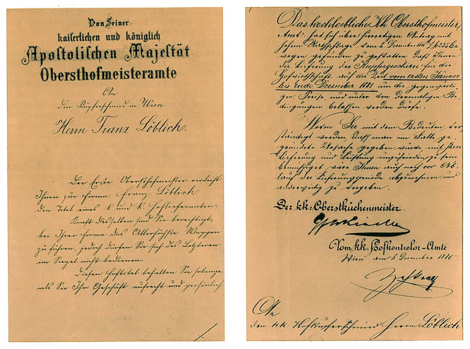 1880 Ernennungsschreiben zum K.u.k. Hoflieferanten