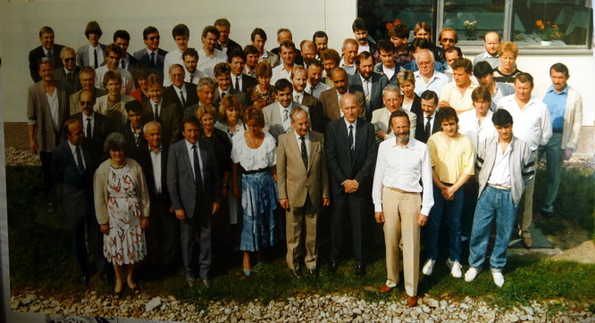 250 Jahr Jubiläum der Unternehmensgründung:  das Löblich Team 1988 (vorne Ing.Max W.Löblich, Dir.Fritz Homolka und Ing Adolf Löblich)