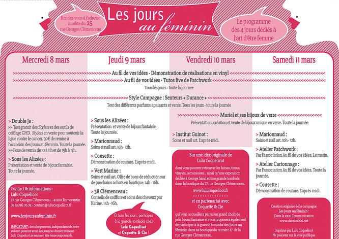Programme des Jours au Féminin du 8 au 11 mars 2017 à Romorantin - Un événement original de Lulu Coquelicot