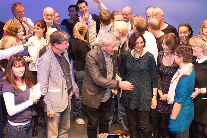 Sir Ian McKellen congratulates Alison Child after seeing her play '150 Questions' at the Chesil Theatre