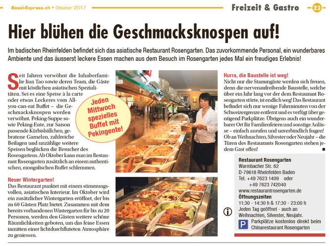 Restaurant Rosengarten in der Zeitung Basel-Expess Oktober 2017