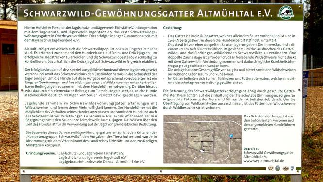 Schwarzwildgatter Infotafel
