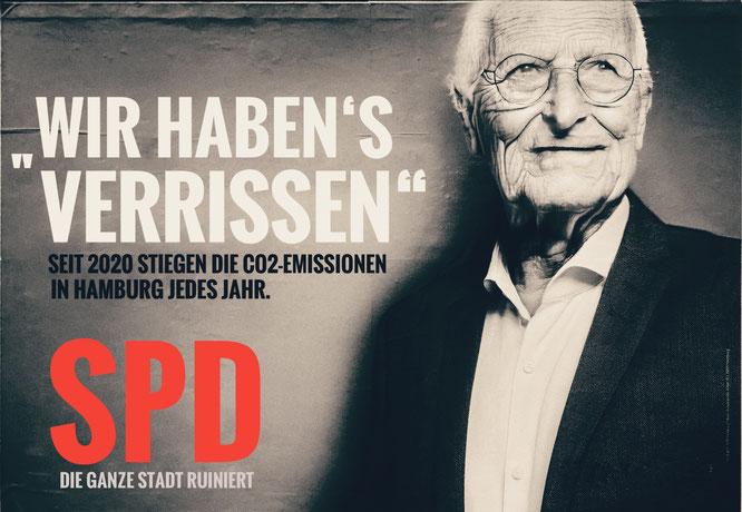 """Grün erhalten? Tschentscher 2030 - Bilder: BI """"Hamburg für die Elbe"""""""