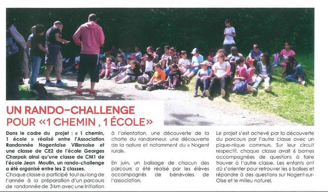 bulletin de  la Mairie de  Nogent sur  Oise   sur  le Rando-Challenge qui a cloturé l'année  2017-2018 d' 1 chemin -1 école   x 2 .