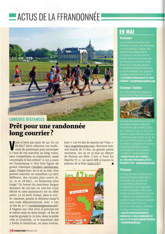 Article de  RANDO  PASSION  sur les  60 km de  l'Oise . Nogent -Chantilly  et  Chantilly-Senlis-Nogent sur Oise .