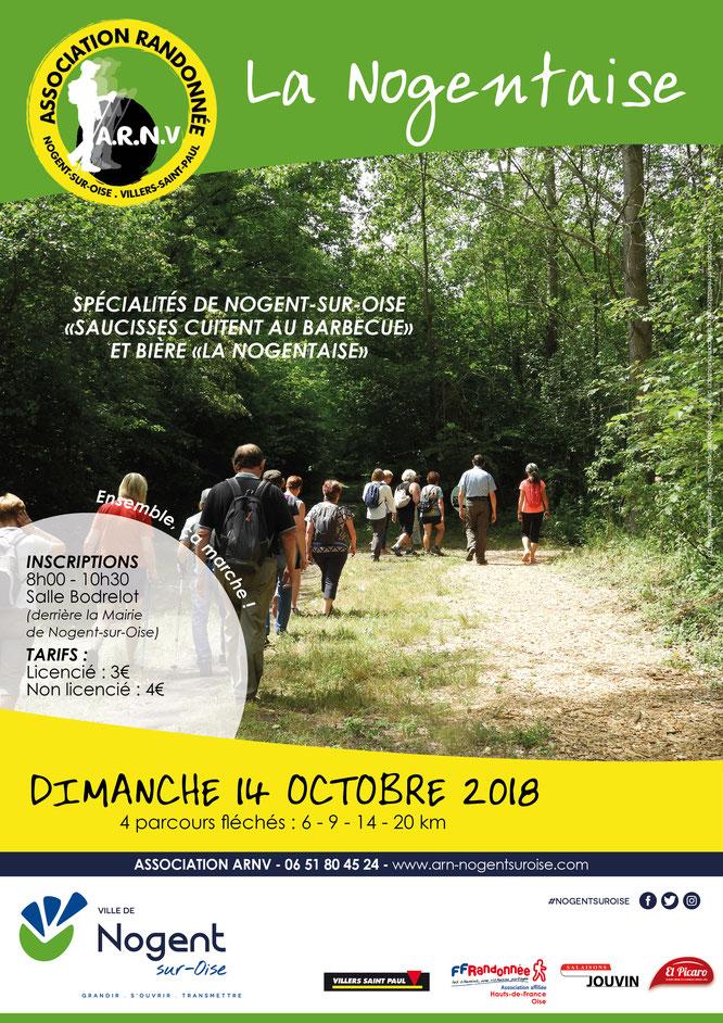 La Nogentaise   à Nogent sur  Oise  - Parcours adapté  par rapport à 2017 .  Temps  ensoleillé   ; 140 randonneurs  .  48 pers 21 km-  52 pers au 14 km et  27 pers au 9 km.