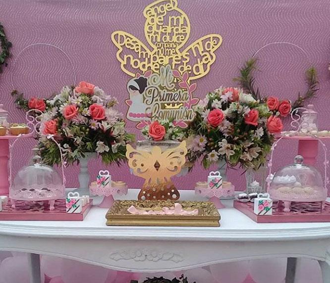 mesa de dulces primera comunion niña