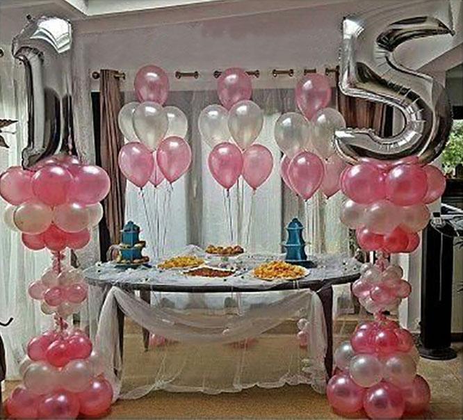 decoracion con globos para 15 años sencilla