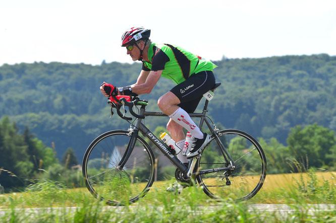 """""""Der stärkste Muskel ist mein Hirn"""": Herbert Graf beim Triathlon in Roth im Juli 2015  über die Ironman-Distanz"""