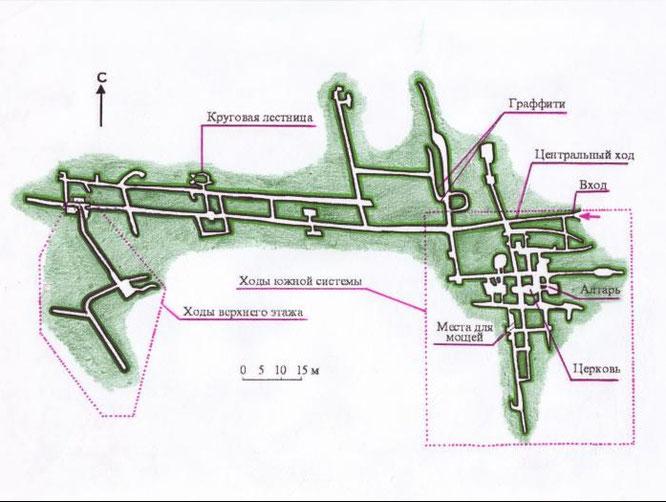 Примерный план меловой пещеры в Калаче.