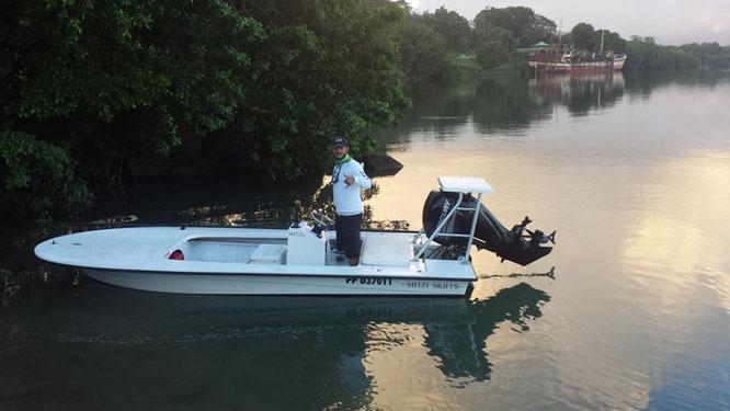 Le Skiff de Julien Audonnet, guide pêche en Guadeloupe