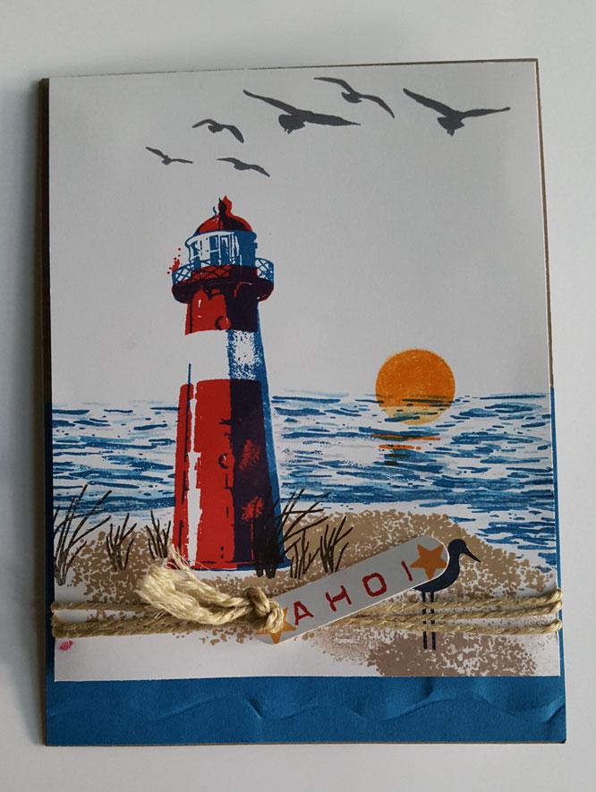 Stampin`Up! # stempelliese.com # durchdiegezeiten#Leuchtturmkarte#basteln#urlaubsgrußkarte#grueße#