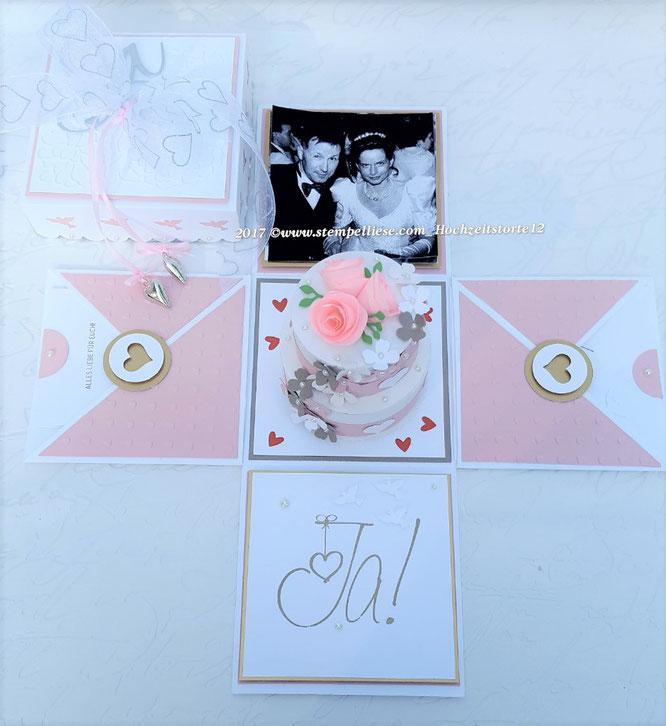 stempelliese.com#Hochzeit#explosionsbox#geldgeschenk#gutschein#heiraten#torte#glückwünsche#