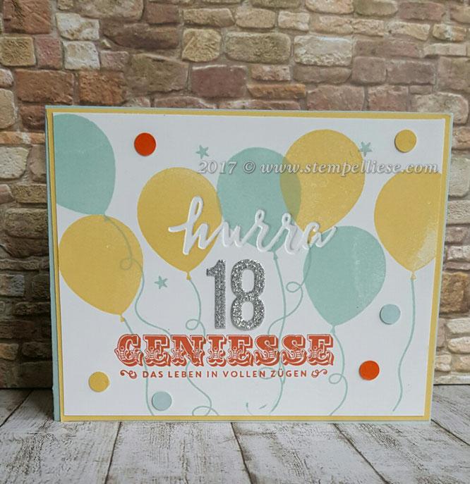 stempelliese.com # Explosionsbox # Grusskarte zum 18. Geburtstag # Stampin`Up! # Stempel