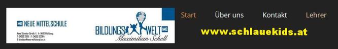 NMS Website von LehrerInnen für SchülerInnen der Bildungswelt Maximilian Schell