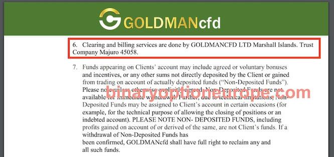 goldmancfd indirizzo offshore truffa