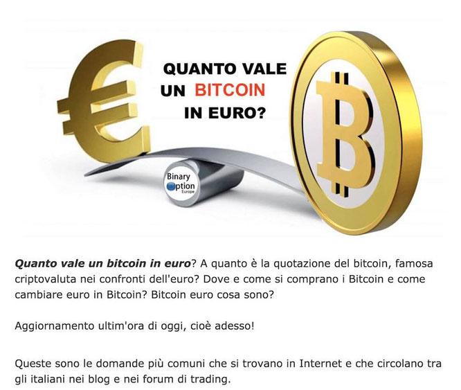 btc eur cambio bitcoin euro valore quotazione in tempo reale