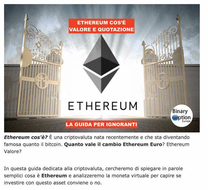 eth eur cambio ethereum euro valore quotazione in tempo reale