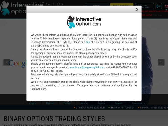 Interactiveoption.com licenza cysec sospensione