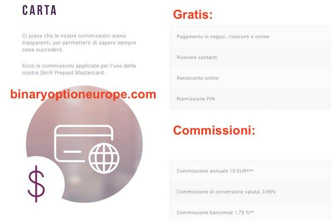 commissioni tariffe costi carta skrill virtuale prepagata mastercard