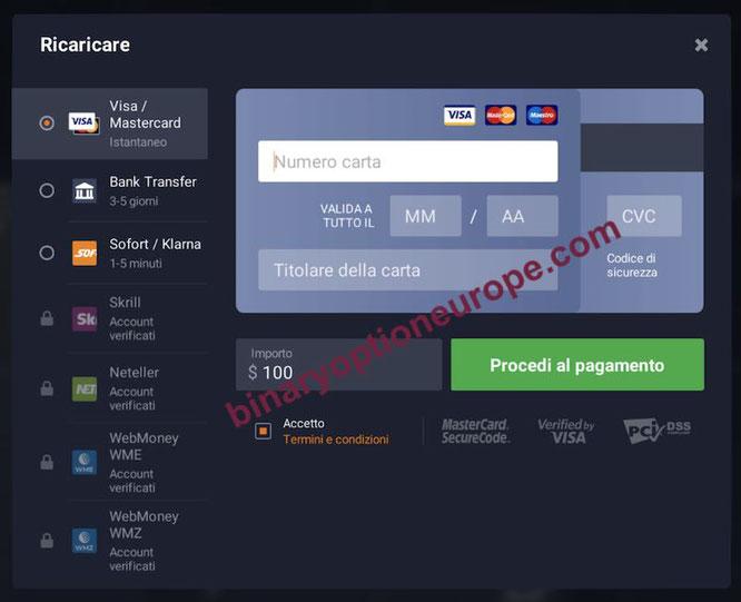 iq option come funziona il deposito nella piattaforma