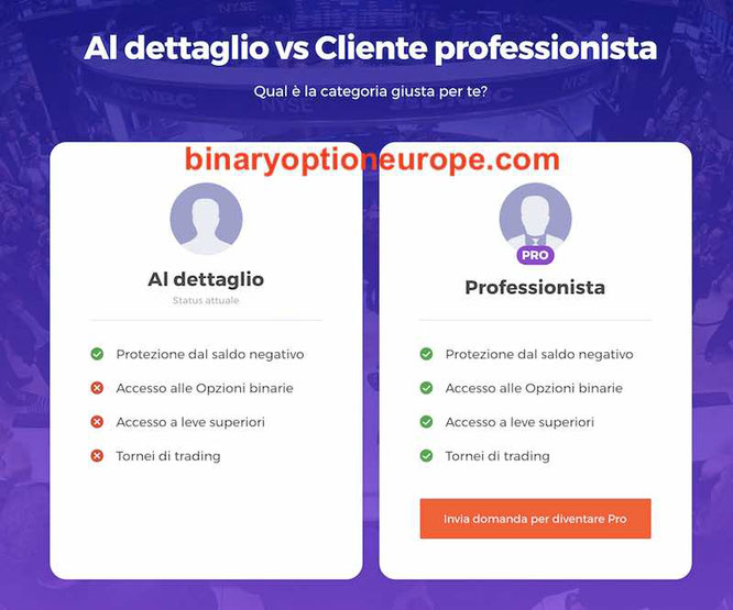 differenza iq option cliente professionale contro cliente retail al dettaglio