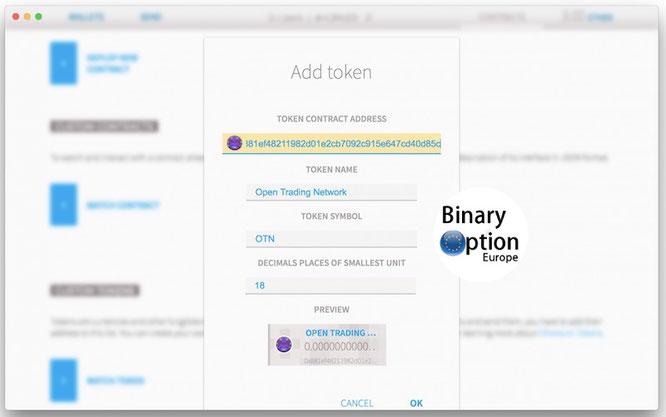 come inserire indirizzo contratto otn token iq option