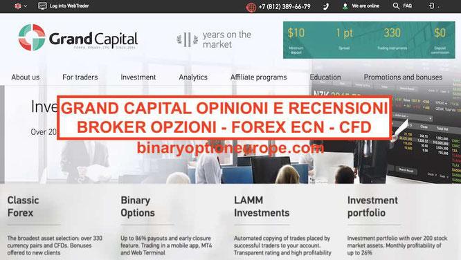 Grand Capital opinioni bonus funziona Recensioni broker opzioni ECN