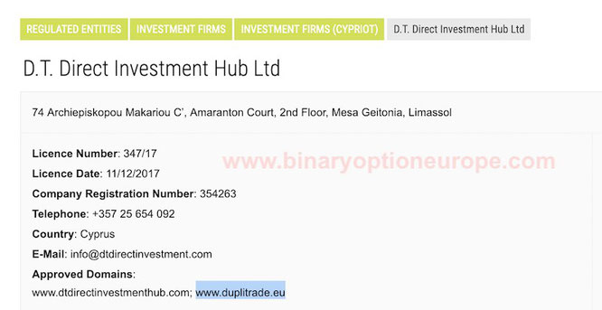 dt direct investment hub ltd proprietaria di duplitrade