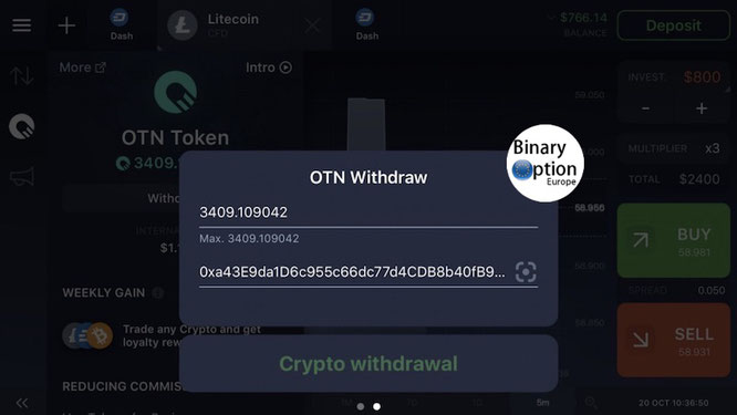 come prelevare token otn iq option