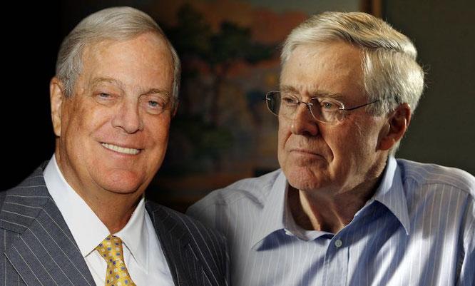 David Koch e Charles Koch uomini pi\ ricchi del mondo