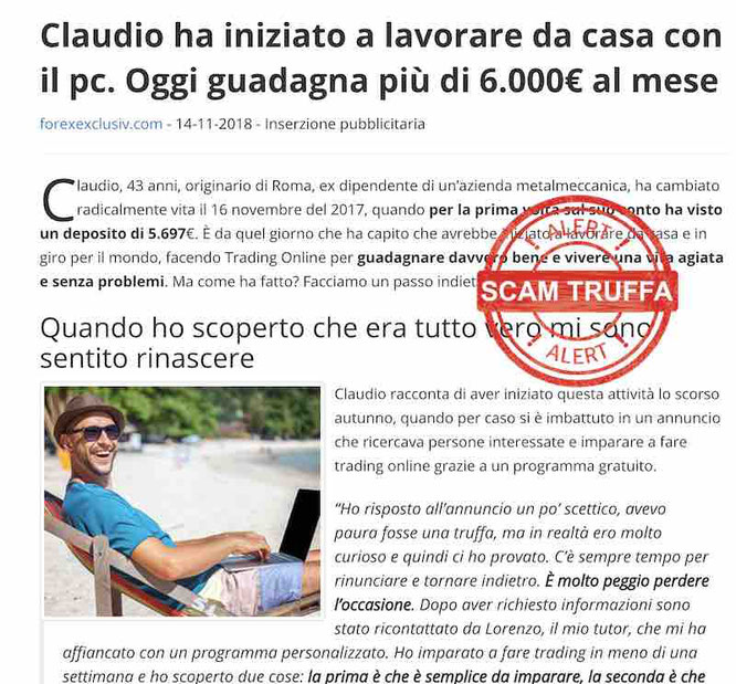 claudio forexclusive truffa newsdiqualita.it