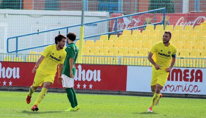 Olabe celebra su primer gol con el Villarreal C. Foto: Juan Francisco Roca.