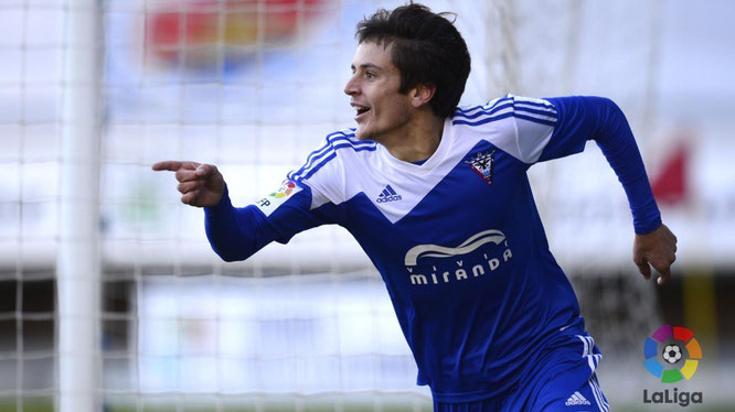 Sangalli celebra un gol esta temporada. Foto: www.laliga.es